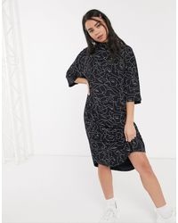 Monki Fey Face Print Jersey T-shirt Dress - Black