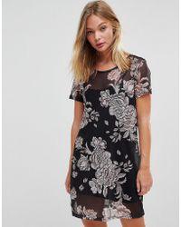 MINKPINK - Metallique Floral Mesh Overlay Dress - Lyst