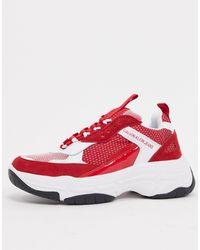 Calvin Klein Красно-черные Кроссовки Maya-белый - Красный