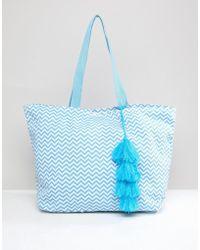Chateau - Geometric Print Beach Bag - Lyst