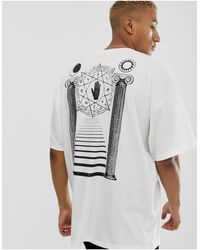 ASOS Oversized Longline T-shirt With Large Historical Inspired Back Print - White