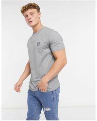 BOSS by Hugo Boss Camiseta gris claro con logo cuadrado Tales