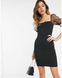 New Look Organza Polka Dot Puff Sleeve Detail Mini Dress - Black