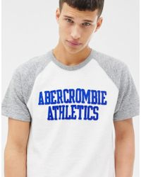 Abercrombie & Fitch Chest Logo Baseball T-shirt In White/grey