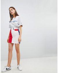 ASOS - Denim Original Skirt In Colourblock - Lyst