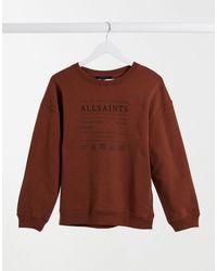 AllSaints Veda - Felpa comoda con logo, colore marrone