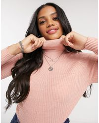 Brave Soul Trudy Roll Neck Ribbed Sweater - Pink