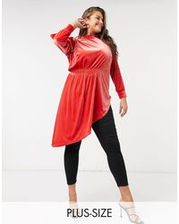 Simply Be Velvet Drape Top - Orange