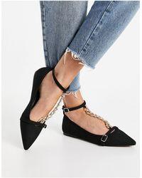 ASOS Lauren T-bar Chain Pointed Ballet Flats - Black