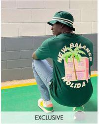 New Balance Зеленая Футболка С Принтом Пальмы На Спине – Эксклюзивно Для Asos-зеленый Цвет