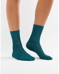 Monki - Ribbed Sock In Green - Lyst