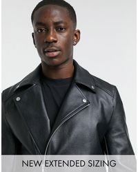 ASOS Faux Leather Biker Jacket - Black