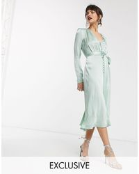 Ghost Exclusive Meryl Satin Button Front Midi Dress-green