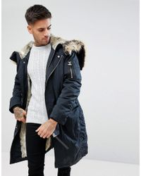 River Island - Parka Jacket With Faux Fur Lining In Navy - Lyst
