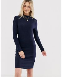 Brave Soul Beda Rib Sweater Dress With Button Neck - Blue