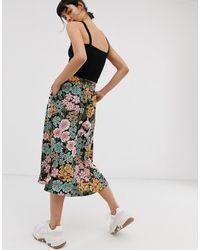 Monki – Geknöpfter Midirock mit floralem Print - Mehrfarbig
