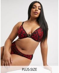 Simply Be Plunge Lace Padded Bra - Red