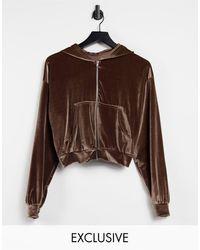 Fashionkilla Exclusive Velour Zip Through Hoodie Co-ord - Brown