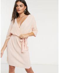 Y.A.S Светло-розовое Плиссированное Платье Мини С Рукавами Кимоно -розовый