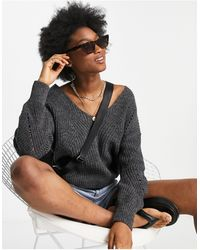 Abercrombie & Fitch Slouchy V Neck Sweater - Gray