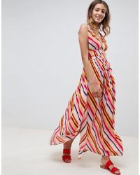 ASOS - Stripe Print Grecian Plunge Maxi Woven Beach Dress - Lyst