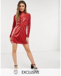 In The Style Эксклюзивное Бархатное Платье Мини С Высоким Воротником И Узлом Спереди Мягкого Рыжего Цвета -оранжевый Цвет