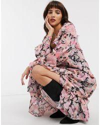 ASOS Платье Макси С Оборками И Ярким Цветочным Принтом - Розовый