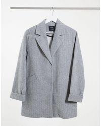 Bershka Серое Пальто -серый