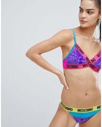 Moschino Multi Colour Logo Print Bikini Bottoms - Multicolour