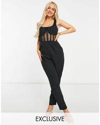 Missguided Tuta jumpsuit con corsetto - Nero