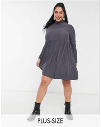 Simply Be Smock Dress With High Neck Detail - Grey