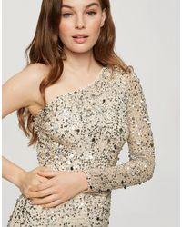 Miss Selfridge Платье Макси На Одно Плечо С Золотистой Отделкой -нейтральный - Естественный