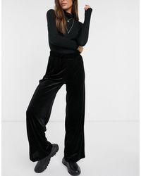 Monki Cleo Velvet Wide Leg Pants - Black