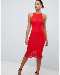 AX Paris - Sqaure Neck Midi Dress With Frill Hem - Lyst