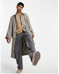 ASOS Trench-coat oversize à carreaux - taupe - Multicolore