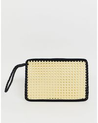ASOS Straw Clutch Bag With Handle - Natural