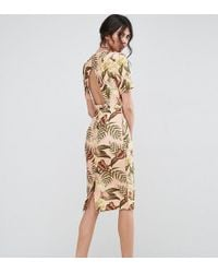 ASOS - Wiggle Midi Dress With Open Back In Tropical Print - Lyst