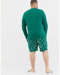 ASOS Plus Christmas Short Pajama Set With Festive Pug Design - Green