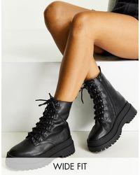 London Rebel Черные Массивные Ботинки На Шнуровке Для Широкой Стопы -черный Цвет