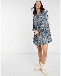 Vero Moda Свободное Синее Платье Мини С Абстрактным Принтом -многоцветный - Синий