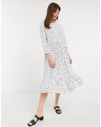 Glamorous Свободное Платье Миди С Пятнистым Принтом -белый