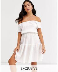 Glamorous Эксклюзивное Белое Пляжное Платье -белый