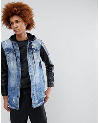 Criminal Damage Denim Jacket With Pu Sleeves - Blue
