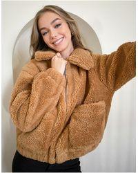 Pull&Bear - Коричневая Куртка Из Искусственного Меха На Молнии Pacific-коричневый - Lyst