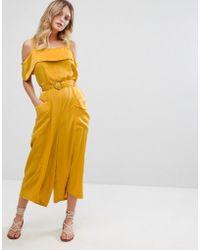 Moon River Cold Shoulder Jumpsuit - Yellow