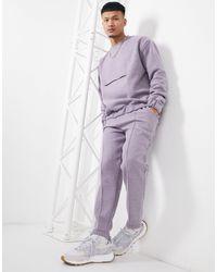 ASOS Smart Co-ord Tapered sweatpants With Fixed Hem & Pin Tucks - Purple