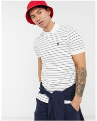 Abercrombie & Fitch Icon Logo Stripe Pique Polo - White