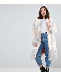 ASOS Patched Faux Fur Mongolian Coat - Pink