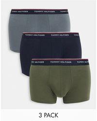 Tommy Hilfiger Набор Из 3 Боксеров-брифов Разных Цветов С Контрастным Поясом -многоцветный - Синий