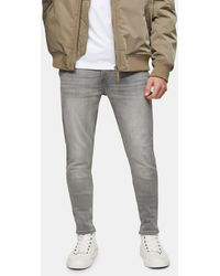 TOPMAN – Hautenge Jeans aus Bio-Baumwolle - Grau